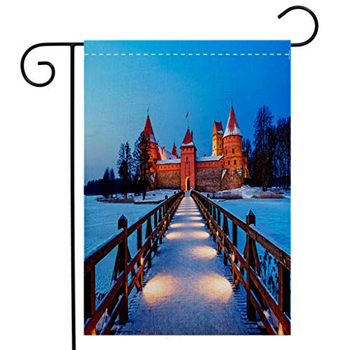 BEIVIVI Custom Double Sided Seasonal Garden Flag Trakai Historic City and Lake Resort in Lithuania Garden Flag Waterproof for Party Holiday Home Garden Decor