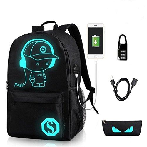 Unisex Schulrucksack, Damen Casual Daypacks Rucksack Luminous Freizeitrucksack USB College Backpack für 15,6 Zoll Laptop Schwarz von BLF