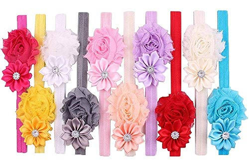 (Qandsweet Baby Girl Headbands with Polygonal Flower Inlay Rhinestone for Photography (10 Pack))