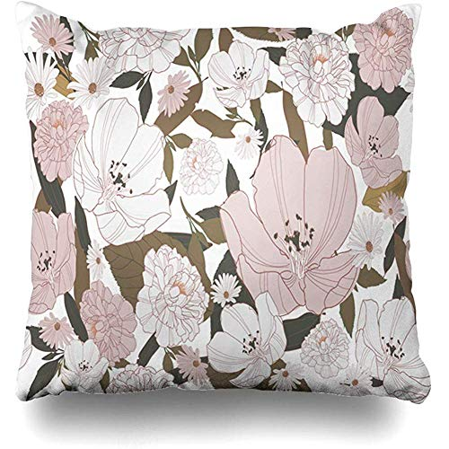 Throw Pillow Cover Pattern Pink Abstract Floral Flower Nature Tile Bloom Blossom Botanical Design Home Decor Pillow Case Square Size 18 x 18 Inches Zippered Pillowcase