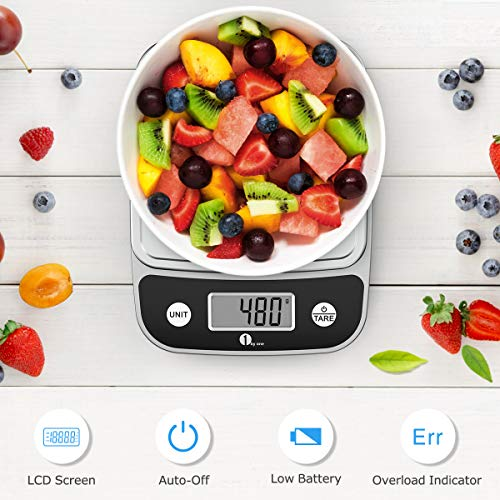 1byone Digital Food Kitchen Scale 11 Lb, Weight Grams and oz for Cooking Baking, 1g/0.1oz Precise, 6.1x5.5inch Chrome Plated Platform