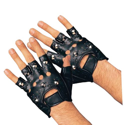 The 80s Costumes (Rubie's Costume Studded Gloves, Black, Adult)