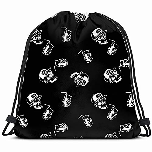Skull Cocktail Alcohol Food And Drink Drawstring Backpack Gym Dance Bags For Girls Kids Bag Shoulder Travel Bags Birthday Gift For Daughter Children Women ()