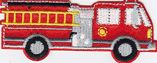 (FIRE TRUCK - FIRE DEPARTMENT - VEHICLE - CHILDREN - Iron On Embroidered Patch)