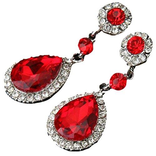 Red Quartz Earrings - Susenstone Wedding Jewelry Rhinestone Style , Earrings For Women (Red)