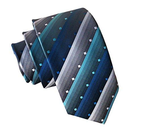 Secdtie Men Classic Striped Blue Grey Jacquard Woven Silk Tie Formal Necktie ()