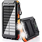 soyond Solar Charger - Solar Phone Charger 10000 mAh Portable Solar Battery Charger Solar Power Bank Dual USB Waterproof 2 Led Light Flashlight with Compass for Camping Outdoor(Orange)