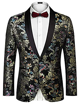 COOFANDY Men's Floral Party Dress Suit Luxury Embroidered Wedding Blazer Dinner Tuxedo Jacket