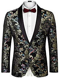 7c3bd5e9669a6f Men's Floral Party Dress Suit Luxury Embroidered Wedding Blazer Dinner  Tuxedo Jacket