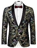 COOFANDY Mens Paisley Floral Party Dress Suit Stylish Dinner Jacket Wedding Blazer Prom Tuxedo
