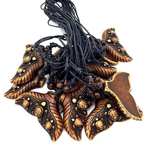 12 pcs Cool Ethnic Tribal Yak Bone Whale Tail Turtle Pendant ()