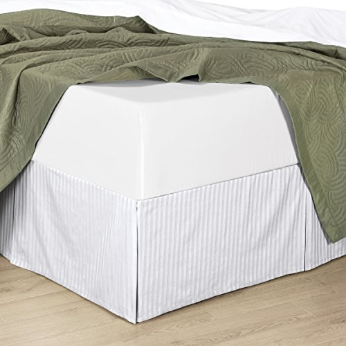 (Queen Striped White Wrinkle-Free Microfiber Bed-Skirt, Pleated Tailored Bed Skirt with 14