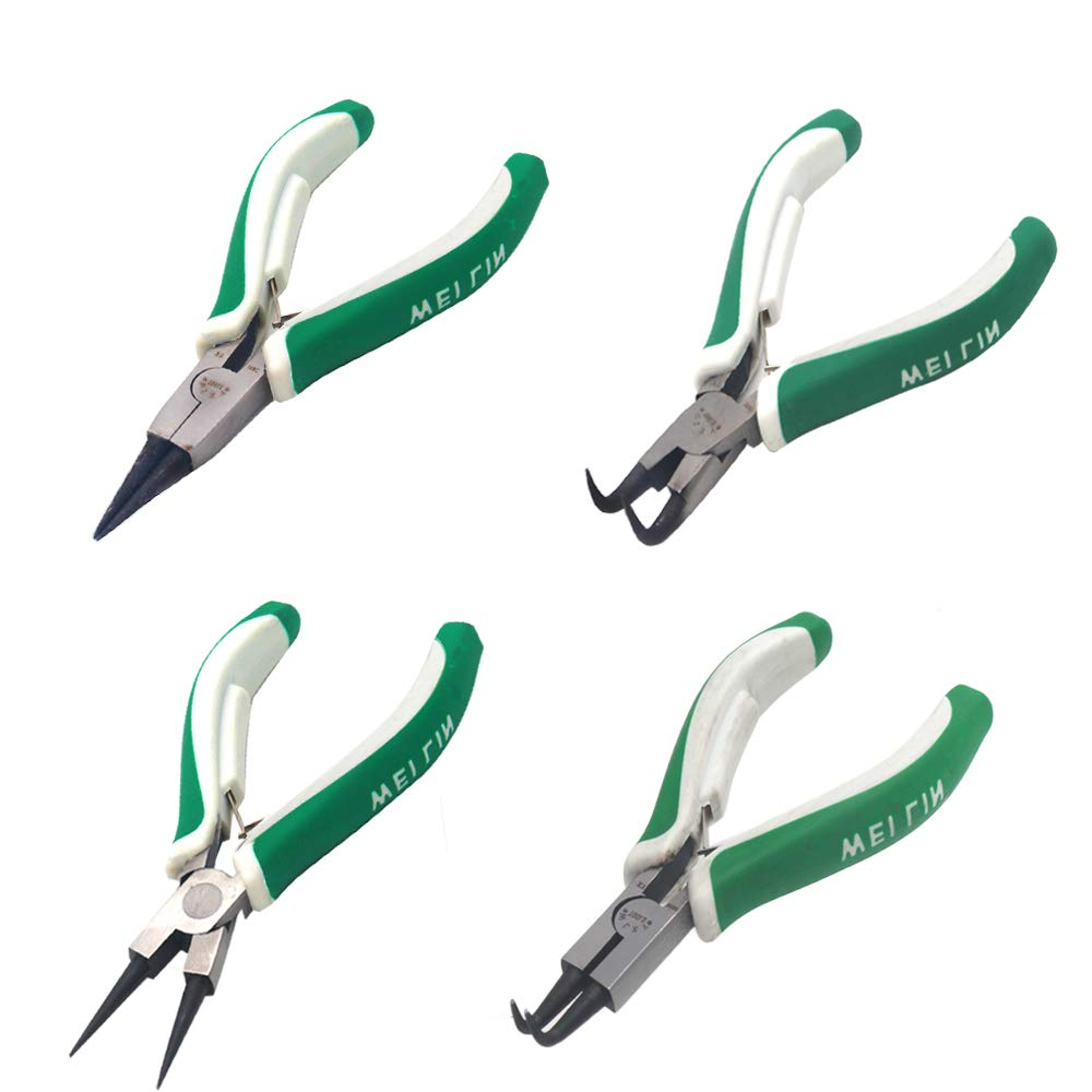 4 Pcs Mini Snap Ring Pliers Set Heavy Duty External/Internal Circlip Pliers with Straight/Bent Jaw for Ring Remover Retaining by Miular