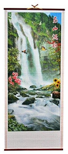 Rattan Wall Scroll - Birds Flying Near Waterfall (Rattan Cane Manau)
