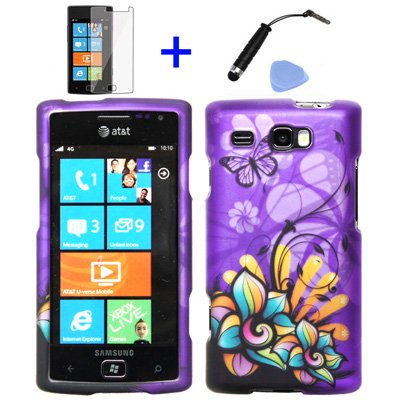 (4 items Combo: Stylus Pen, Screen Protector Film, Case Opener, Graphic Case) Purple Butterfly Orange Pink Green Color Daisy Flower Design Rubberized Snap on Hard Shell Cover Faceplate Skin Phone Case for (AT&T) Samsung Focus Flash i677 ()