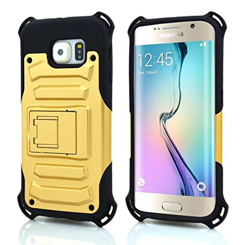 Galaxy S6 Edge Case,Qcute Full Protection [Heavy Duty]Shock Dual Layer Combo Holste with Belt Swivel Clip for Samsung Galaxy S6 Edge (Golden)