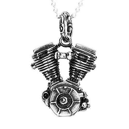 [Felix Perry Jewelry Silver Stainless Steel Necklace Motorcycle Engine Mens Pendant 18-26 Inches Chain (24 Inches,] (Mens Sports Costume Ideas)