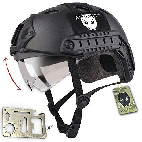 - ATAIRSOFT PJ Type Tactical Multifunctional Fast Helmet with Visor Goggles Version Black + 1 x Multifunction Card