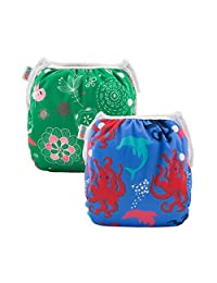 ALVABABY Swim Diapers 2 Packs One Size Reuseable Washable & Adjustable for Infants & Toddlers