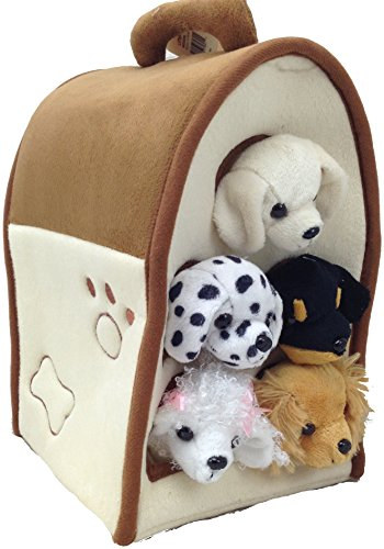 Plush Dog House -Five (5) Stuffed Animal Dogs (Dalmation, Yellow Lab, Rottweiler, Poodle, Cocker Spaniel) in Play Dog House Carrying House