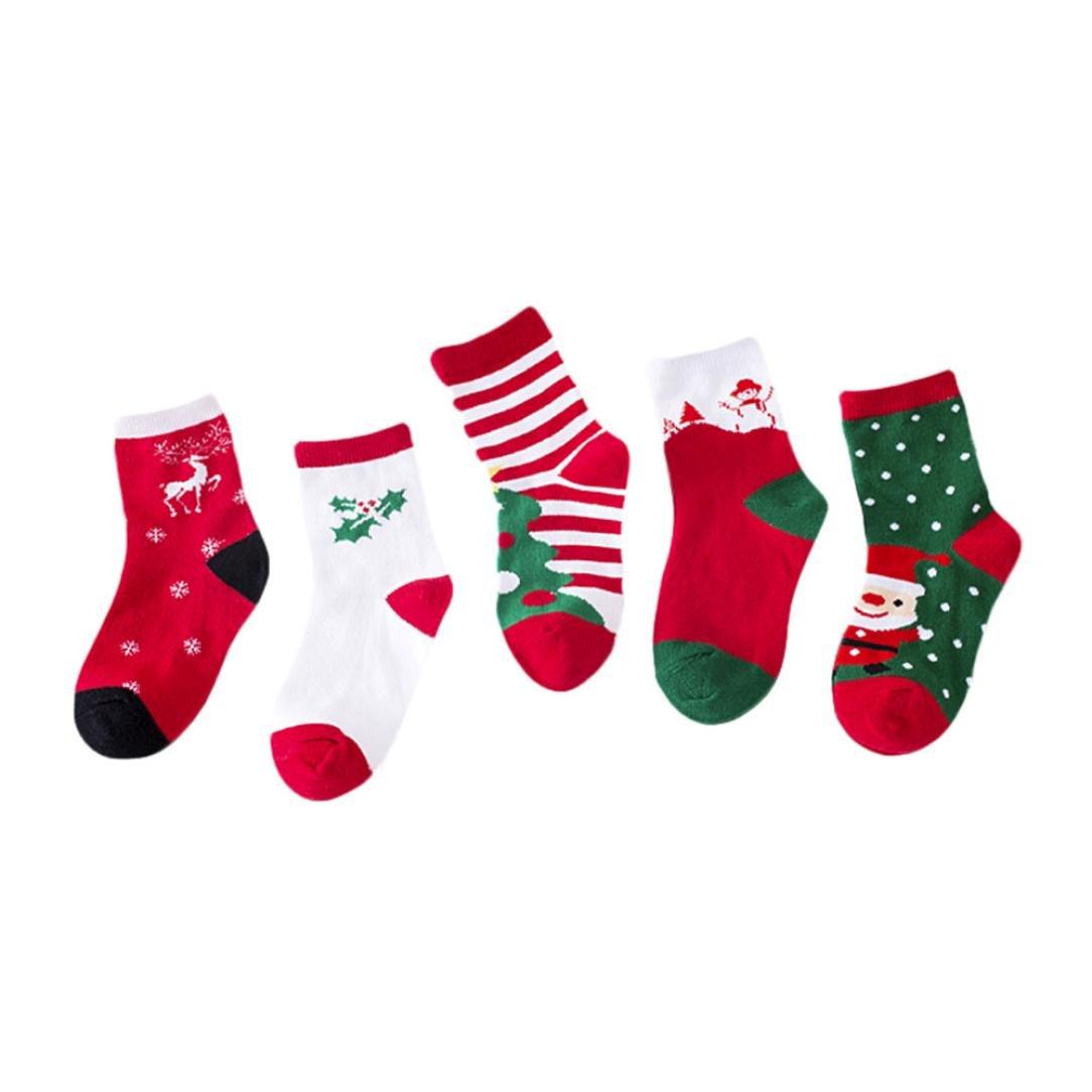 Xshuai Perfect for Age 1-12 Kids, 5 Pair Infant Newborn Cute Baby Girls Santa Claus Cotton Socks Kids Toddlers Casual Socks