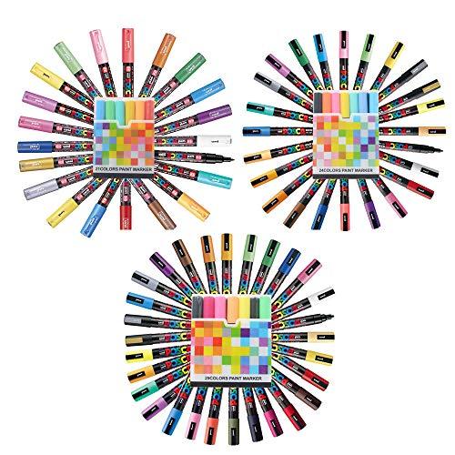 Ivory Silver Pens - Uni Posca Paint Marker Pen FULL RANGE Bundle Set, Medium Point 29 Colours PC-5M, Fine Point 24 Colours PC-3M, Extra Fine Point 21 Colours PC-1M With Original Plastic Case