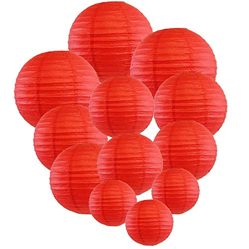 Red Paper Lanterns - Renohef Red Round Paper Lanterns,Metal Framed Hanging Lanterns 12pcs,6inch,8inch,10inch,12inch 4 Sizes,Birthday Wedding Party Supplies Favors Hanging Decoration