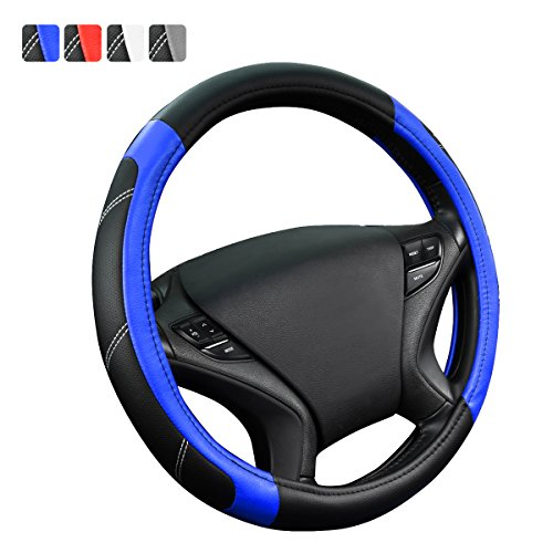 NEW ARRIVAL- CAR PASS Line Rider Leather Universal Steering Wheel Cover fits for Truck,Suv,Cars (Black and Blue) (Wheel Steering Blue Cover With)