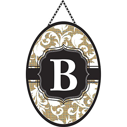 Monogram Letter B Shield with White Filigree on Burlap 18 x 13 Oval Chain Rope Door Banner -