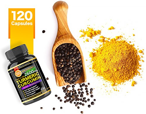 Turmeric Curcumin 2600mg  Anti Aging Support  Joint Support  Promotes  Natural Weight Loss and Heart Health, with Bioperine (Black Pepper) 120  High