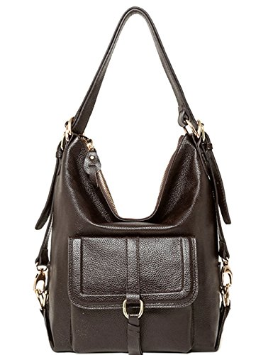 Black school Backpack amp; Leather Womenss Coffee Geniune Backpack Fashion for 0848Eq