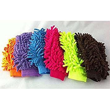 Micro Fiber Washing Hand Gloves Duster Single Side Gloves (Pack 0f 2) (Random Color will be shipped)