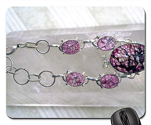 - Mouse Pad - Cerise Pink Crackle Quartz Bracelet Gem Gemstone