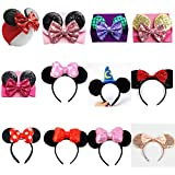 Mickey/Minnie Mouse Ears Headband/Headwrap - Toddler, Baby, Kid & Adult- Party supplies (01 - Red Bow with Black Ears)