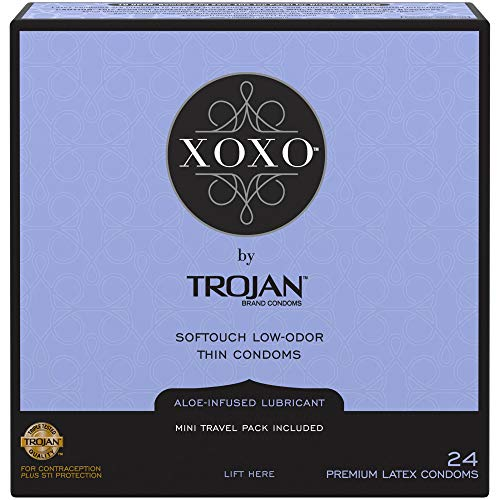 Trojan XOXO Thin Softouch Lubricated Latex Condoms, 24ct (Best Type Of Condom For Protection)