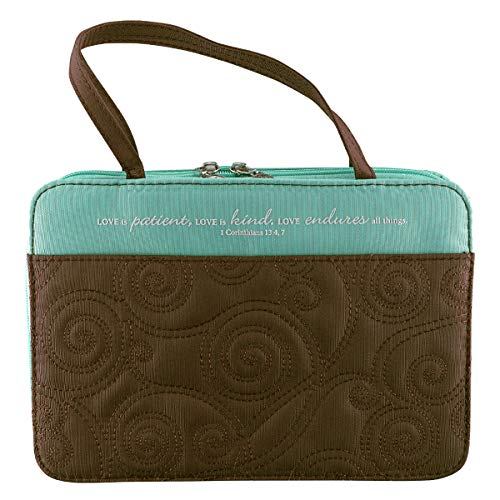 Turquoise/Brown Micro-Fiber Purse-Style Quilt Stitched Bible / Book Cover - 1 Corinthians 13:4, 7 (Medium)