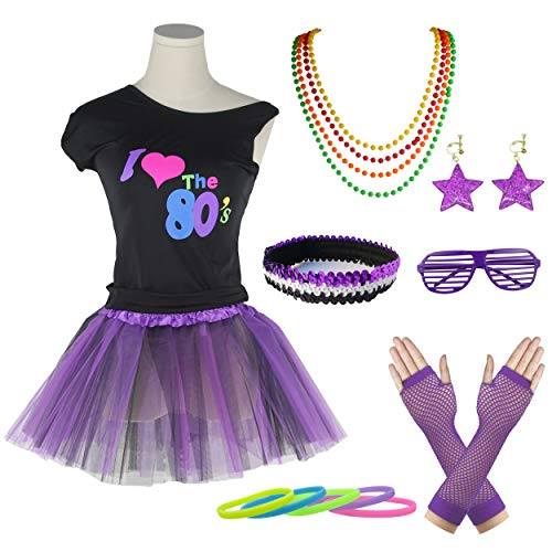 Girls I Love The 80's T-Shirt Fancy Outfit Dress for 1980s Theme Party Supplies Costume Set (8-10 Years, Black&Purple)