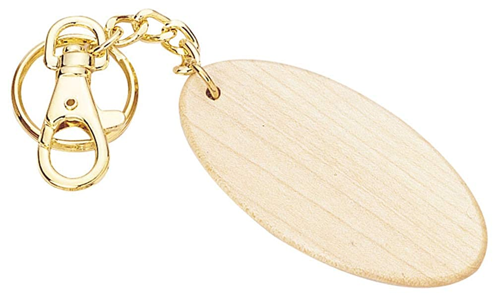 Short Oval Shaped Maple Wood Key Chain