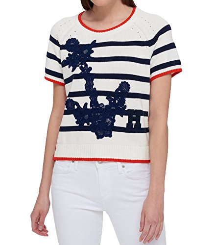 Tommy Hilfiger Cotton Embroidered Short-Sleeve Sweater (Ivory Stripe Multi, M)