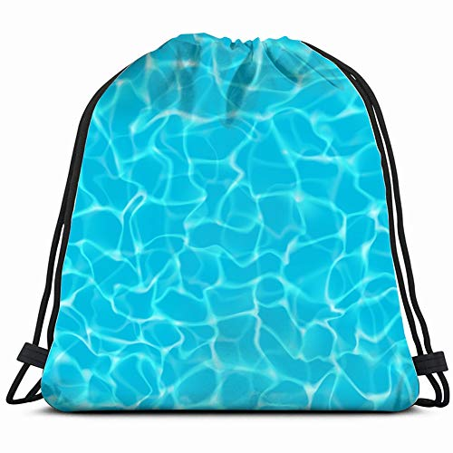 - shimmering turquoise tropical water ripples pool nature Drawstring Backpack Gym Sack Lightweight Bag Water Resistant Gym Backpack for Women&Men for Sports,Travelling,Hiking,Camping,Shopping Yoga