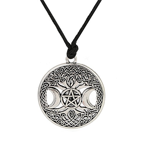 (Wicca Triple Moon Goddess Pentacle adjustable rope chain pendant necklace (Antique Silver))
