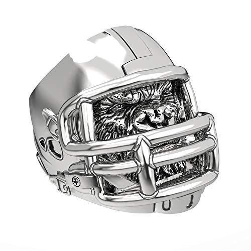 - EEJART 316L Stainless Steel Gorilla Ring for Men, American Football Helmet Rings, Suitable for Hiphop Biker Men's Domineering Punk Ring. (Silver+Black, 12)