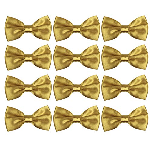 Gold Bowties - Neck Bowtie Tuxedo for Men Adjustable Solid Satin Pre-tied 12 Pcs Wedding Party (Gold)
