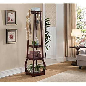 Image of Kings Brand Furniture Entryway Coat Rack with Storage Shelves & Drawer, Cherry Home and Kitchen