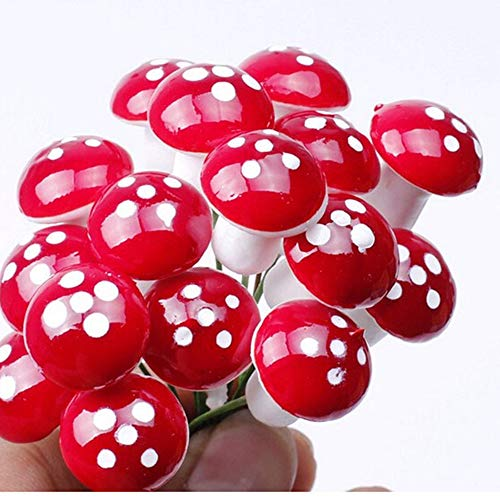 Euone  Foam Mushroon, 50 Pc Mini Red Mushroom Garden Dotted Small Potted DIY Toy House Landscape Bonsai Plant Garden Decoration
