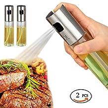 Olive Oil and Vinegar Dispenser Sprayers Pump Glass Bottle Set(2 PCS) For Kitchen Cooking, Baking, Grillinsg
