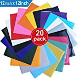 "Heat Transfer Vinyl for T-Shirts , 20 Pack - 12""x 12"" Sheets - 18 Assorted Colors , Iron On HTV for Cricut and Silhouette Cameo"