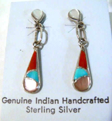 Zuni Inlay Earrings Sterling Silver & Multi-Stone
