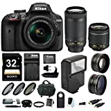 Nikon D3400 DSLR Camera w/ 18-55mm & 70-300mm Lens, Flash, Filters and 32GB Kit