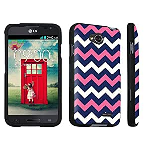 DuroCase ? LG Optimus L70 / LG Optimus Exceed 2 Hard Case Black - (Navy Pink Chevron) by lolosakes